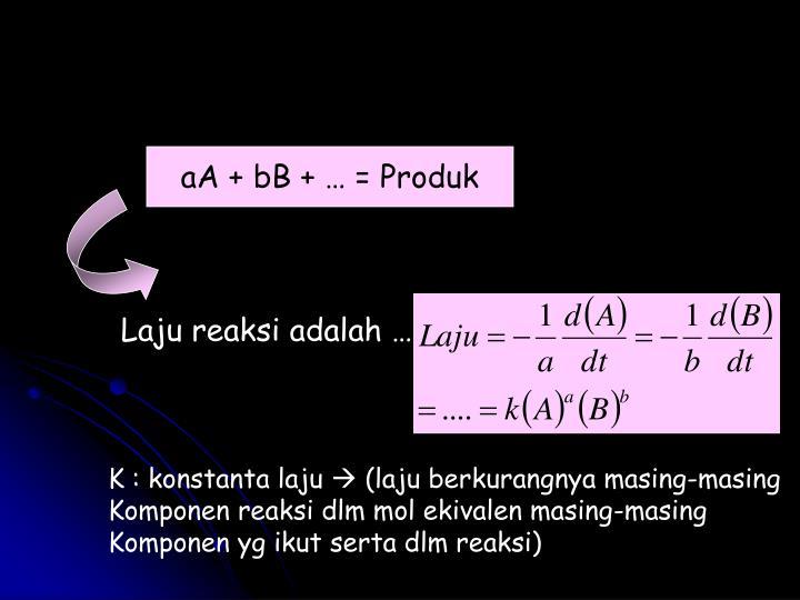 aA + bB + … = Produk