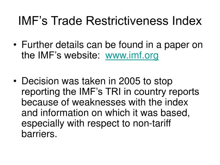 IMF's Trade Restrictiveness Index