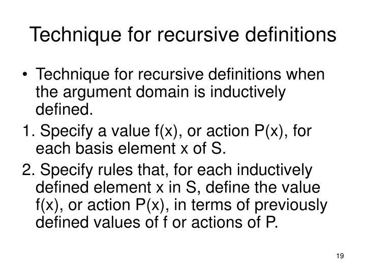 Technique for recursive definitions