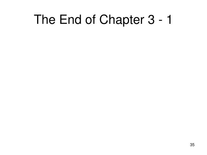 The End of Chapter 3 - 1