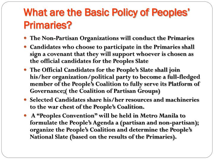 What are the Basic Policy of Peoples' Primaries?