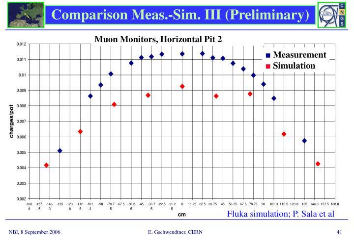 Comparison Meas.-Sim. III (Preliminary)