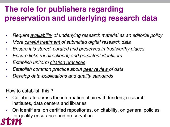 The role for publishers regarding preservation and underlying research data