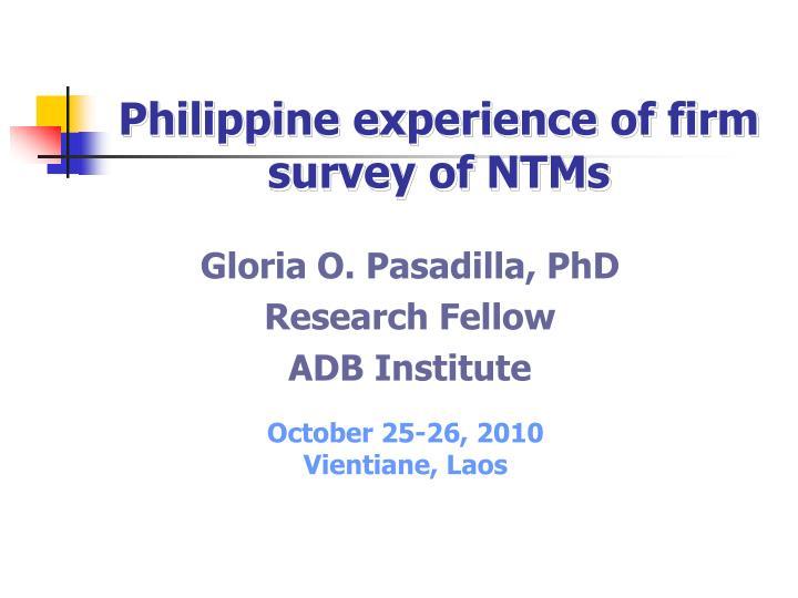 gloria o pasadilla phd research fellow adb institute n.
