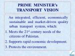 prime minister s transport vision