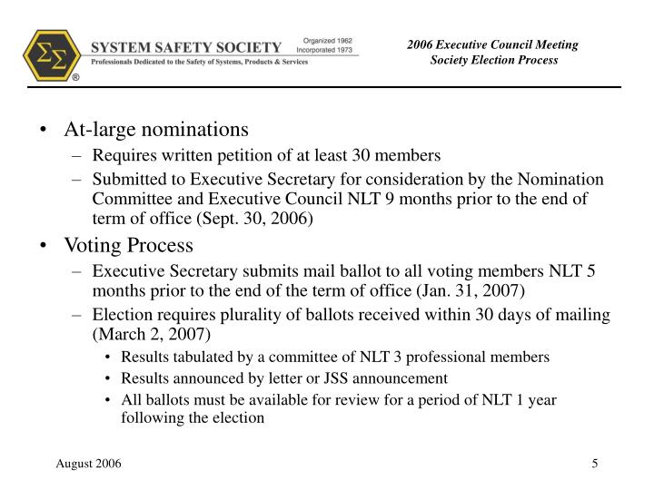 At-large nominations