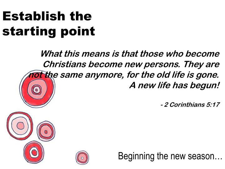 Establish the starting point