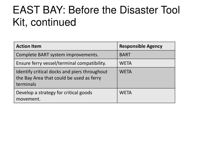 EAST BAY: Before the Disaster Tool Kit, continued