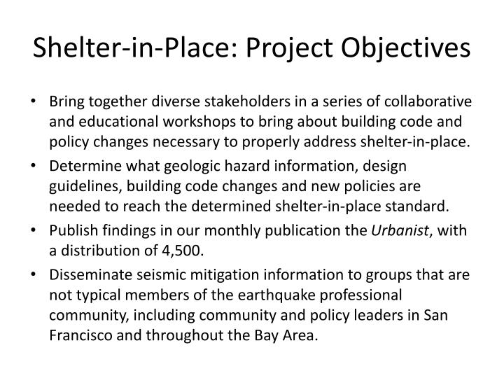 Shelter-in-Place: Project Objectives