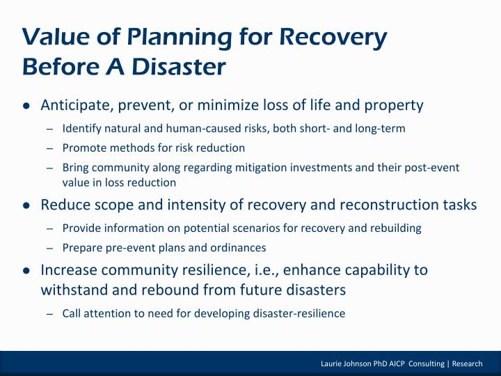 Value of planning for recovery before a disaster