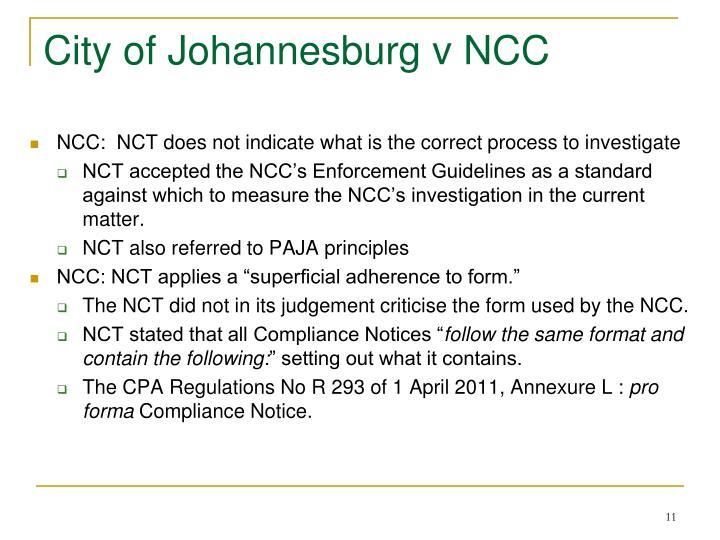 City of Johannesburg v NCC