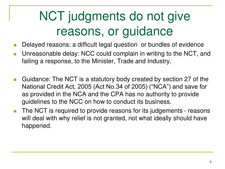 NCT judgments do not give reasons, or guidance