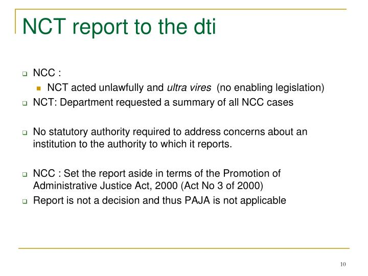 NCT report to the dti