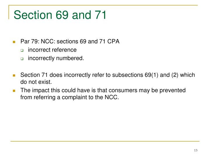 Section 69 and 71