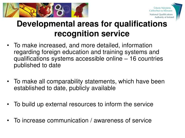 Developmental areas for qualifications recognition service