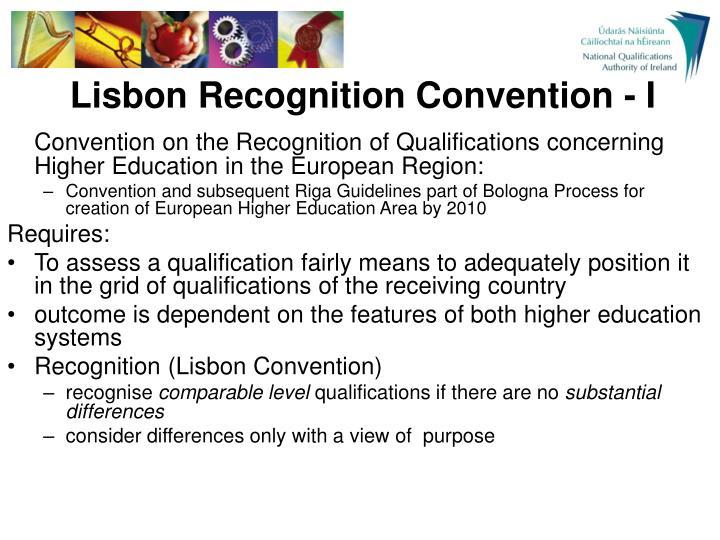 Lisbon Recognition Convention - I