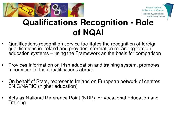 Qualifications Recognition - Role