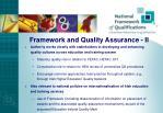 framework and quality assurance ii