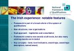 the irish experience notable features