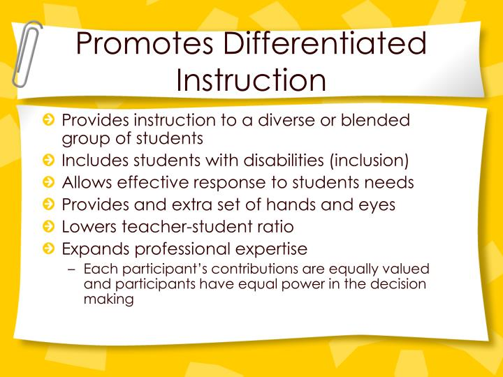 Promotes Differentiated Instruction