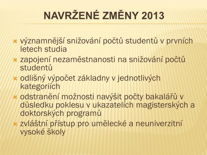 NAVRŽENÉ ZMĚNY 2013