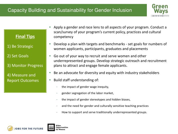Capacity Building and Sustainability for Gender Inclusion