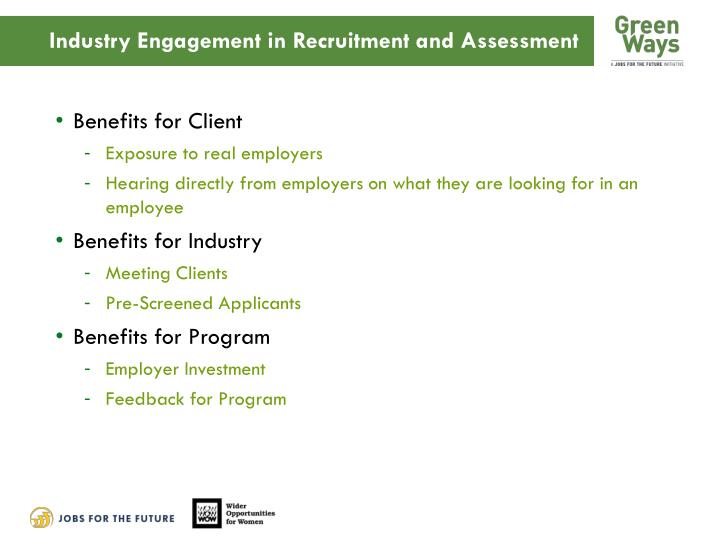 Industry Engagement in Recruitment and Assessment