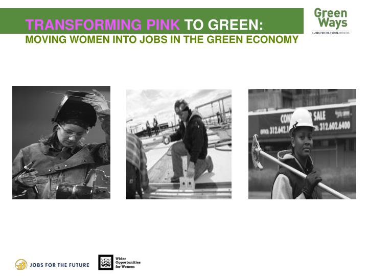 Transforming pink to green moving women into jobs in the green economy