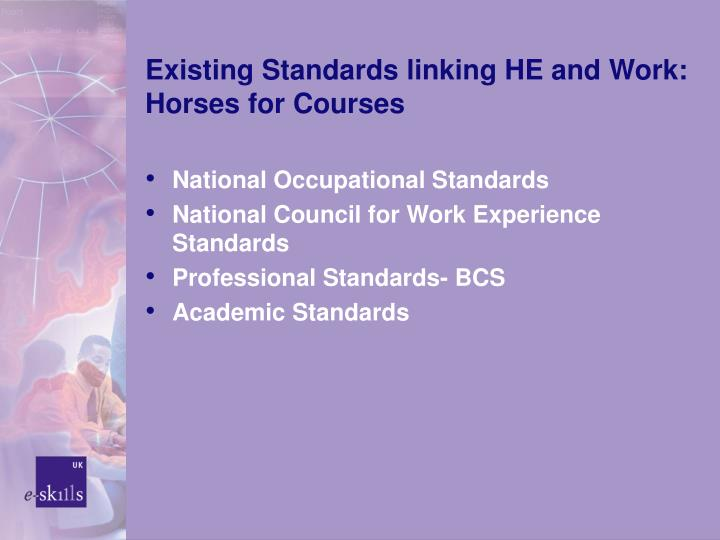 Existing standards linking he and work horses for courses