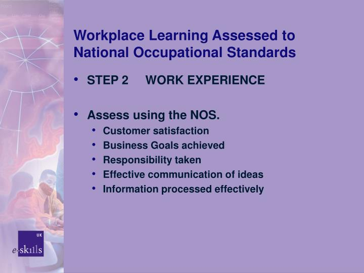 Workplace Learning Assessed to National Occupational Standards