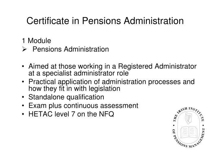 Certificate in Pensions Administration