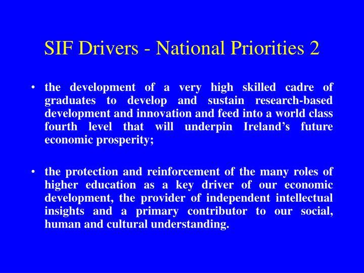 SIF Drivers - National Priorities 2