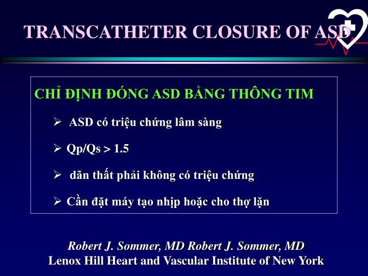 TRANSCATHETER CLOSURE OF ASD