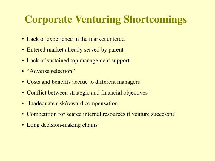 Corporate venturing shortcomings
