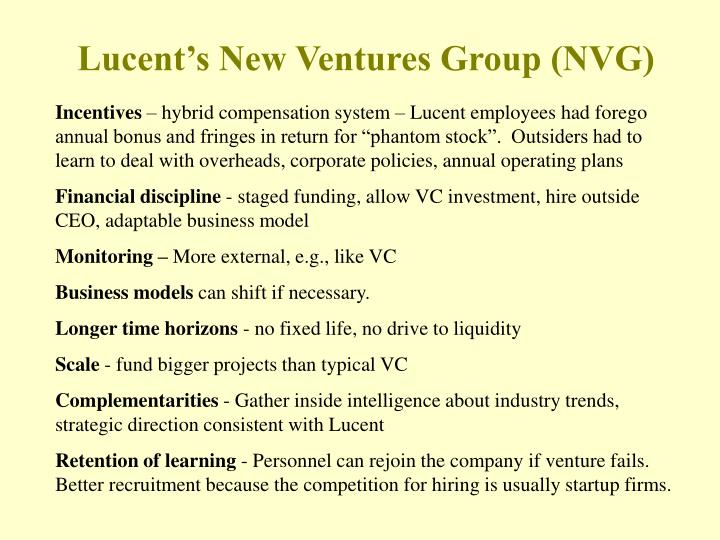 Lucent's New Ventures Group (NVG)