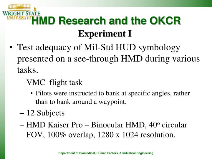 HMD Research and the OKCR