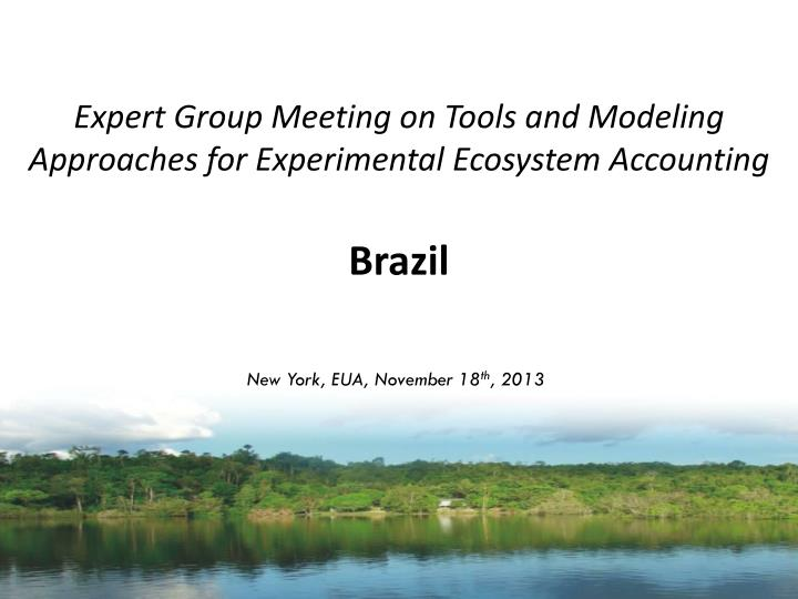 expert group meeting on tools and modeling approaches for experimental ecosystem accounting brazil n.
