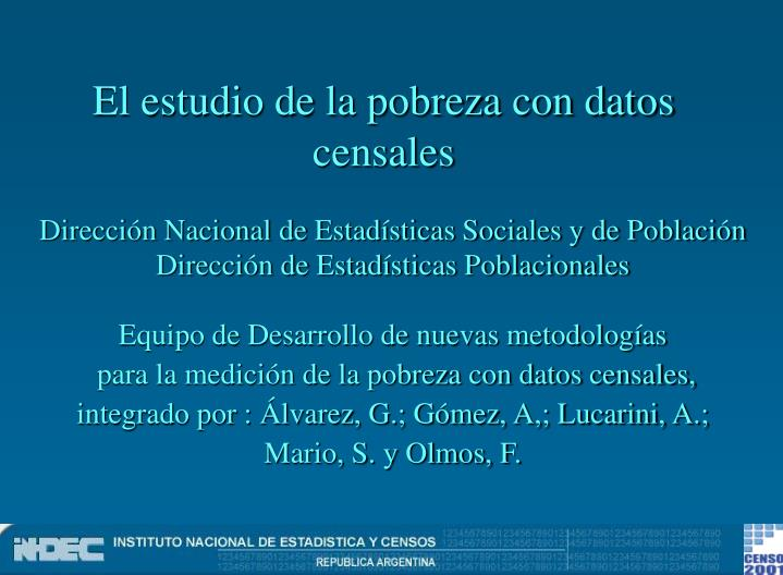 el estudio de la pobreza con datos censales n.