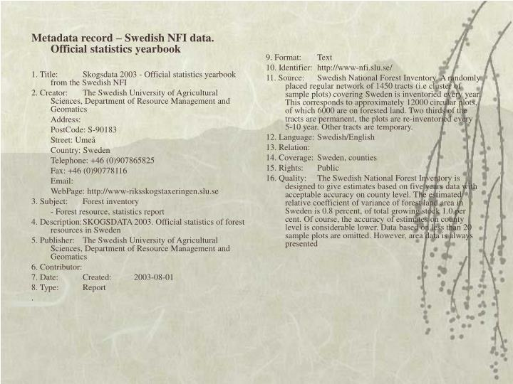 Metadata record – Swedish NFI data.