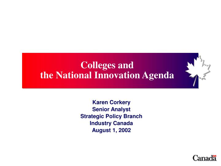 karen corkery senior analyst strategic policy branch industry canada august 1 2002 n.