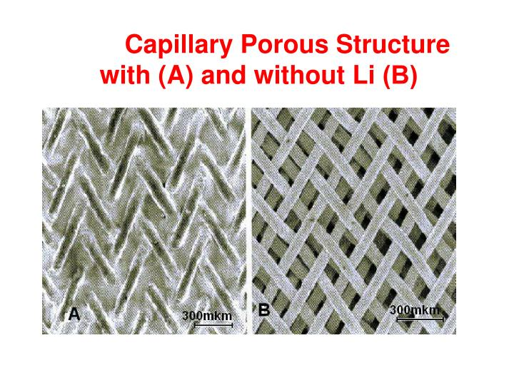 Capillary Porous Structure  with (A) and without Li
