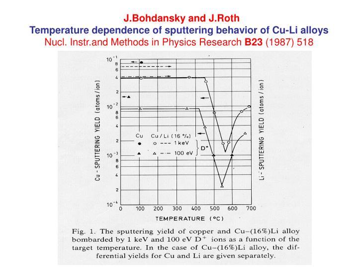 J.Bohdansky and J.Roth
