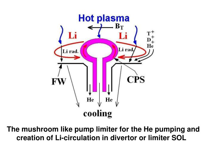 The mushroom like pump limiter for the He pumping and