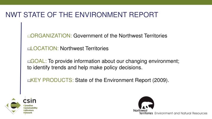 NWT STATE OF THE ENVIRONMENT REPORT