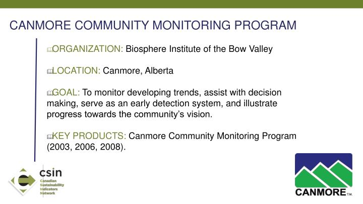 CANMORE COMMUNITY MONITORING PROGRAM