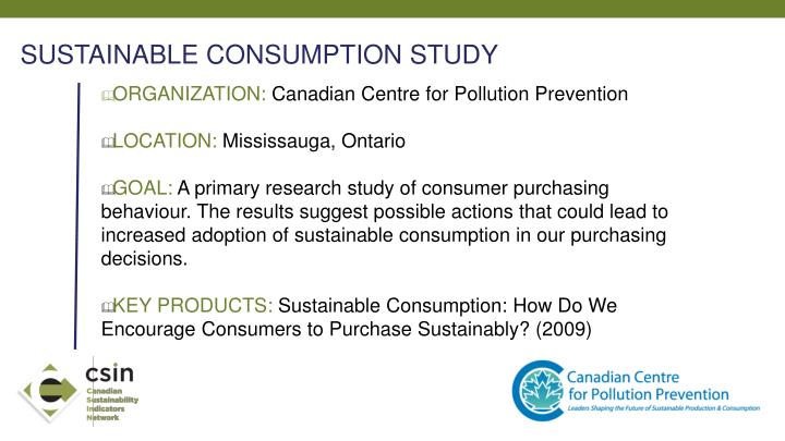 SUSTAINABLE CONSUMPTION STUDY