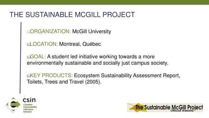 THE SUSTAINABLE MCGILL PROJECT