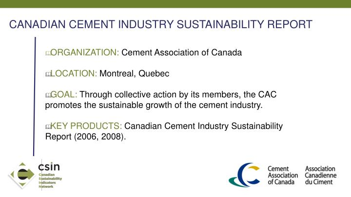 CANADIAN CEMENT INDUSTRY SUSTAINABILITY REPORT