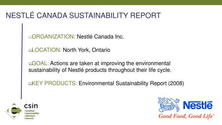 NESTLÉ CANADA SUSTAINABILITY REPORT