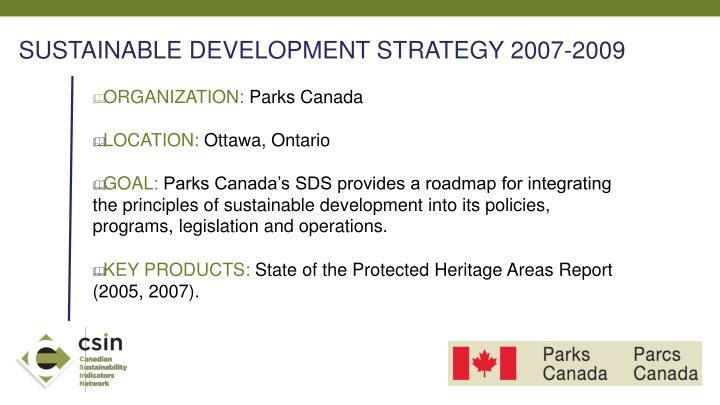 SUSTAINABLE DEVELOPMENT STRATEGY 2007-2009